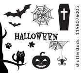 halloween set. black... | Shutterstock .eps vector #1198076005