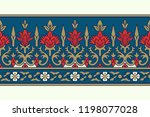 woodblock printed seamless... | Shutterstock .eps vector #1198077028