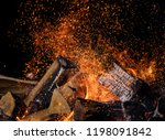 burning wooden logs in fire ... | Shutterstock . vector #1198091842
