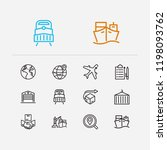 cargo icons set. warehouse and...