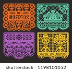 day of the dead. papel picado....   Shutterstock .eps vector #1198101052
