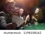 gambler man in casino sitting... | Shutterstock . vector #1198108162