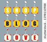 inscription  shop  blog and...   Shutterstock .eps vector #1198110988