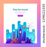 travel banner design with... | Shutterstock .eps vector #1198121335