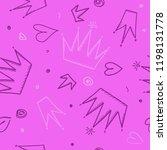 trendy seamless girl pattern... | Shutterstock .eps vector #1198131778