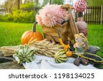 autumn decorations during the... | Shutterstock . vector #1198134025