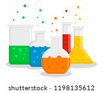 chemical flask set concept... | Shutterstock .eps vector #1198135612