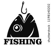fish hook logo. simple...   Shutterstock .eps vector #1198140202
