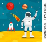 hello from spaceman concept... | Shutterstock .eps vector #1198140838