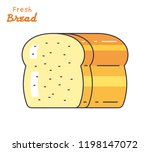 half a loaf of bread isolated | Shutterstock .eps vector #1198147072