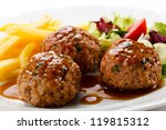 roasted meatballs  chips and... | Shutterstock . vector #119815312