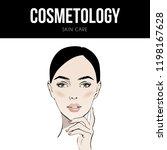 beautiful woman face hand drawn ... | Shutterstock .eps vector #1198167628