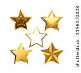 vector set of realistic golden... | Shutterstock .eps vector #1198170328