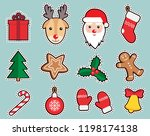 christmas  new year cute... | Shutterstock .eps vector #1198174138