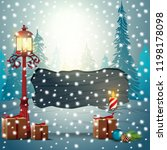 merry christmas. wooden plate... | Shutterstock .eps vector #1198178098
