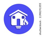 burning house icon in badge...