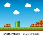 old retro video game background.... | Shutterstock .eps vector #1198191838
