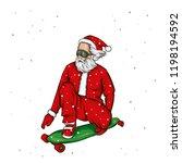 Stylish Skater Wearing Santa...