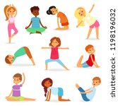 yoga kids vector young child... | Shutterstock .eps vector #1198196032