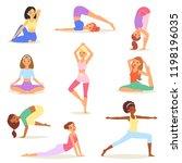 yoga woman vector young women... | Shutterstock .eps vector #1198196035