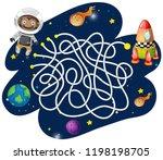 monkey astronaut maze game...   Shutterstock .eps vector #1198198705