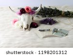 floral skull on white fur with... | Shutterstock . vector #1198201312