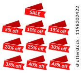 set of red sale ribbons with... | Shutterstock .eps vector #1198202422