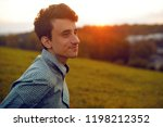 man portrait  on sunset. man... | Shutterstock . vector #1198212352