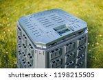 compost bin on green grass... | Shutterstock . vector #1198215505