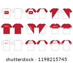 set of red white t shirt... | Shutterstock .eps vector #1198215745