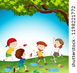 kids playing with water balloon ... | Shutterstock .eps vector #1198221772