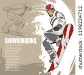 snowboarding illustration.... | Shutterstock .eps vector #1198224712