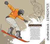 snowboarding illustration.... | Shutterstock .eps vector #1198224715