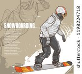 snowboarding illustration.... | Shutterstock .eps vector #1198224718
