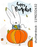 the rabbit found a big happy... | Shutterstock .eps vector #1198232632