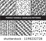 6 doodle seamless patterns.... | Shutterstock .eps vector #1198232728