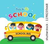 school bus illustration. back... | Shutterstock .eps vector #1198235668