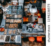 all kind of seafood being sold... | Shutterstock . vector #1198238575