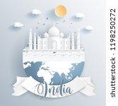 india landmarks on earth in... | Shutterstock .eps vector #1198250272