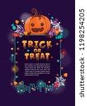 halloween background with... | Shutterstock .eps vector #1198254205