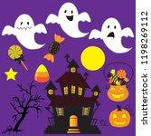 ghost vector cartoon... | Shutterstock .eps vector #1198269112