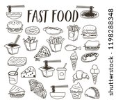 a cute fast food vector doodle... | Shutterstock .eps vector #1198288348