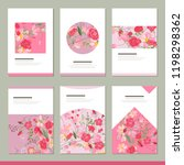 set with six floral romantic... | Shutterstock .eps vector #1198298362