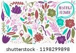 vector flower plant set.... | Shutterstock .eps vector #1198299898