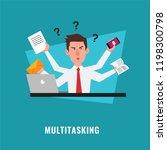 multitasking businessman with... | Shutterstock .eps vector #1198300798