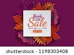 sale banner template  3d paper... | Shutterstock .eps vector #1198303408