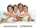 beautiful family eating... | Shutterstock . vector #119834692