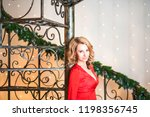 the girl in the red long dress...   Shutterstock . vector #1198356745
