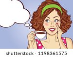sexy pop art woman with coffee... | Shutterstock .eps vector #1198361575