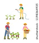 farmer people watering plants... | Shutterstock .eps vector #1198364935